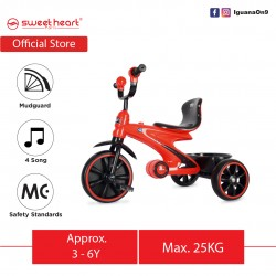 Sweet Heart Paris Sport Multifunctional MC CERTIFICATE Children Tricycle with Anti Skid Pedal TCS77 (Red)
