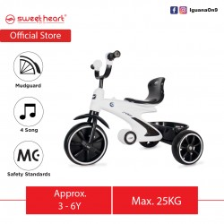 Sweet Heart Paris Sport Multifunctional MC CERTIFICATE Children Tricycle with Anti Skid Pedal TCS77 (White)