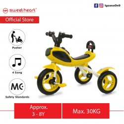 Sweet Heart Paris Children Tricycle with Anti Skid Pedal TC6688 (Yellow)