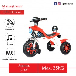 Sweet Heart Paris MC CERTIFICATE High Grade Carbon Steel Children Tricycle with Anti Skid Pedal TC6616 (Red)