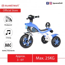 Sweet Heart Paris MC CERTIFICATE High Grade Carbon Steel Children Tricycle with Anti Skid Pedal TC6616 (Blue)