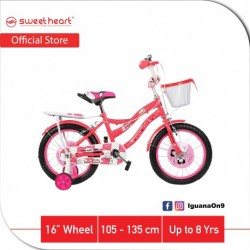 Sweet Heart Paris CB1601 PARIS 16 Inches Single Speed Children Bicycle With Training Wheels (Red)