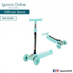 Iguana Online Highly Adjustable 3 Wheels Stylish Foldable Portable All Terrain Scooter with Light Wheels SCO01 (Teal)