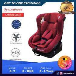 Sweet Heart Paris CS363 Group 0,1 Baby Car Seat Assurance with One-Hand Adjustable Reclining Function (Red)