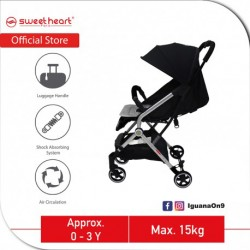 Sweet Heart Paris CASEY 2.0 Compact Stroller Infant Toddler Baby Stroller Pram Jogger with Pull-up Luggage Handle (Black)