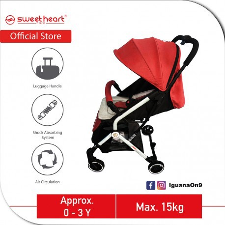 Sweet Heart Paris CASEY 2.0 Compact Stroller Infant Toddler Baby Stroller Pram Jogger with Pull-up Luggage Handle (Red)