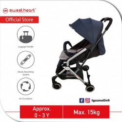 Sweet Heart Paris CASEY 2.0 Compact Stroller Infant Toddler Baby Stroller Pram Jogger with Pull-up Luggage Handle (Blue)