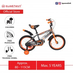 Sweet Heart Paris CB1601 X-TANK 16 Inches Children's Kid Bicycle with Mudguard, Basket and Training Wheels (Grey)