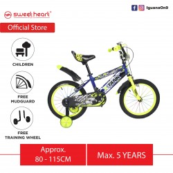 Sweet Heart Paris CB1601 X-TANK 16 Inches Children's Kid Bicycle with Mudguard, Basket and Training Wheels (Blue)