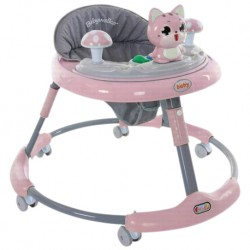 Iguana Online O Shape Baby Walker BW819A Portable Folding Convenient LED Music with EVA 360 Round Wheels (Pink)