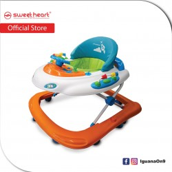 Sweet Heart Paris Baby Walker Learn Moving Tolocar Ride On Car with Activity Tray Music with Steering Wheels (Carrot O)