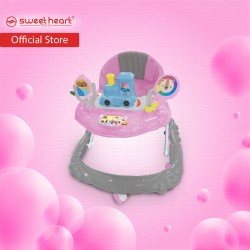 Sweet Heart Paris BW220 Multi Height Adjustable Baby Walker with Music and Light (Silver Pink)
