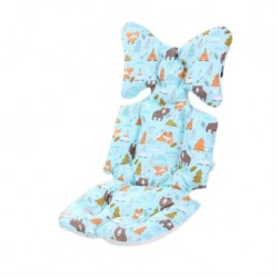 Iguana Online Soft Cushion Pad Liner Spine Protector Head Neck Body Support Pillow Blanket for Pram Jogger (Forest Bear)