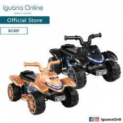 Iguana Online Kids Electric Car Toy with Non Slip Off-Road Tyres Electrical Vehicle for Children LED Music (Black)