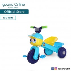 Iguana Online Foldable Portable Cute Children Tricycle Tolo Car Balance Bike with Music and Lights (Blue)