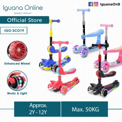 Iguana Online Highly Adjustable SCO Scooter 3 Wheels Stylish Foldable Portable Light Wheels and Music SCO (Pink with Seat)