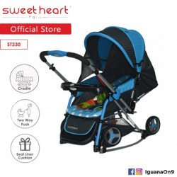 Sweet Heart Paris Aluminium 2IN1 Stroller + Rocker Cradle ST230 (Blue) Bundle with Mosquito Net and Reversible Handlebar\''