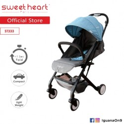 Sweet Heart Paris ST333 Compact Aluminium Frame Baby Stroller with Pull-up Luggage Handle (Blue Grey)