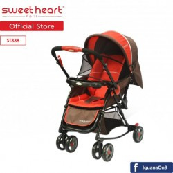 Sweet Heart Paris 2IN1 Stroller + Rocker Cradle ST338 with Reversible Handlebar (Red Brown)'