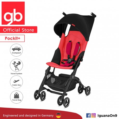 'gb Pockit Plus Stroller (CHERRY RED) - World Lightweight Cabin Size Stroller with Reclining Seat'