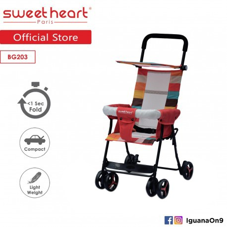 Sweet Heart Paris BG203 (Red) One Second Folding Portable Baby Buggy Stroller