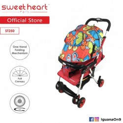 Sweet Heart Paris ST250 Compact Iron Frame Stroller (Red) with One-Handed Folding