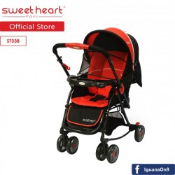 'Sweet Heart Paris 2IN1 Stroller + Rocker Cradle ST338 with Reversible Handlebar (Red Black)'
