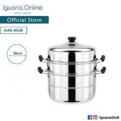 'Iguana Online 28CM Top Quality 3 Layers MultiPurpose Steamer 2 Handler Induction Pot'