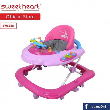 Sweet Heart Paris BW6988 Baby Walker Learn Moving with Activity Tray Music with Steering Wheels (Swe