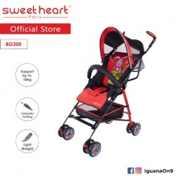 Sweet Heart Paris BG200 Umbrella Stroller Buggy (Red) with Steel Frame and Back-Rest Reclining