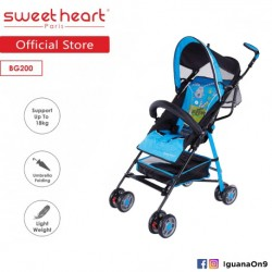 Sweet Heart Paris BG200 Umbrella Stroller Buggy (Blue) with Steel Frame and Back-Rest Reclining'