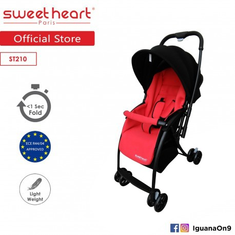 Sweet Heart Paris ST210 Compact Super Light Alloy Frame Stroller (Red) with Reversible Handlebar\''