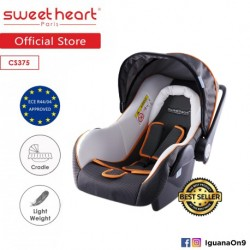 'Sweet Heart Paris CS375 Baby Car Seat (White Grey) with Sun Shade Canopy'