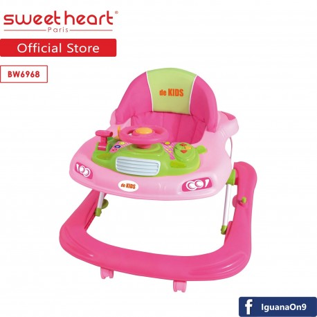 Sweet Heart Paris BW6968 Baby Walker Learn Moving Tolocar Ride On Car with Activity Tray Music with Steering Wheels (Blu