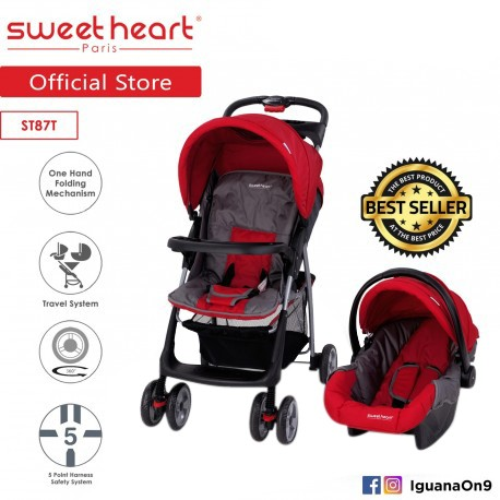 Sweet Heart Paris ST87T Travel System Stroller (Red) with One-Handed Folding