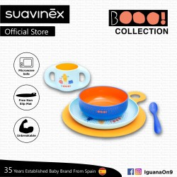 Suavinex Boo Collection BPA Free Toddler Feeding Set (Blue) with Non Slip Mat