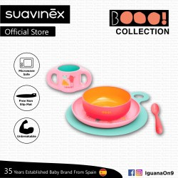 Suavinex Boo Collection BPA Free Toddler Feeding Set (Pink) with Non Slip Mat