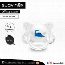 Suavinex BPA Free -2 - 4 Months Fusion Physiological Soother Pacifier For Premature Baby (White Dino)