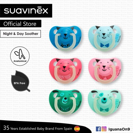 Suavinex BPA Free 6 - 18 Months Night and Day Anatomical Soother Pacifier (Random Color and Pattern)