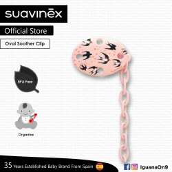 Suavinex BPA Free Oval Soother Pacifier Clip 0m+ (Pink Swallow)