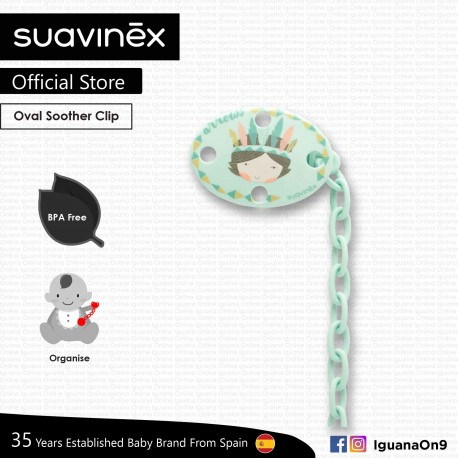 Suavinex BPA Free Oval Soother Pacifier Clip 0m+ (Teal Indian)