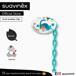Suavinex BPA Free Oval Soother Pacifier Clip 0m+ (Blue Dino)