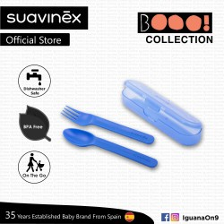 Suavinex Boo Collection BPA Free Travel Easy Outdoor Portable Cutlery Set Fork + Spoon With Case (Bl