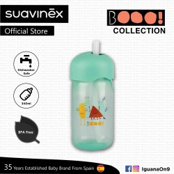 Suavinex Boo Collection BPA Free Baby Straw Training Cup Bottle (Teal)
