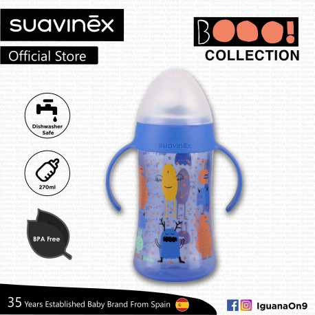 Suavinex Boo Collection BPA Free Non Spill Baby First Training Spout Bottle 270ml (Blue)