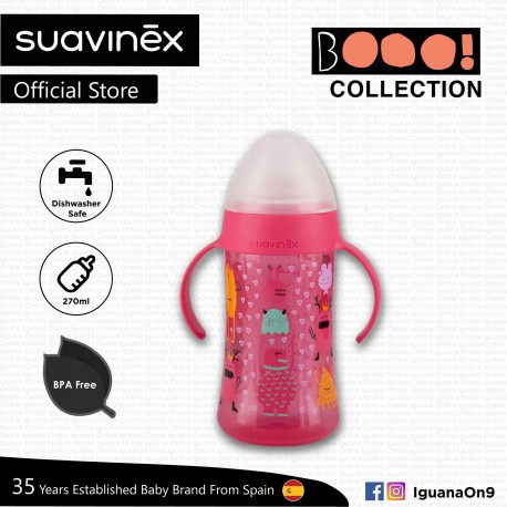 Suavinex Boo Collection BPA Free Non Spill Baby First Training Spout Bottle 270ml (Pink)