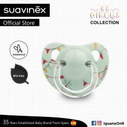 Suavinex Circus Collection BPA Free 0 - 6 Months Anatomical Soother Pacifier (Green Bunting Flag)