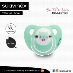 Suavinex In The Sea Collection BPA Free 0 - 6 Months Anatomical Soother Pacifier (Teal Cat)