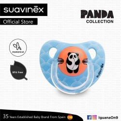 Suavinex Panda Collection BPA Free 6 - 18 Months Anatomical Soother Pacifier (Blue Bamboo Panda)