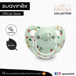 Suavinex Circus Collection BPA Free 6 - 18 Months Anatomical Soother Pacifier (Green Elephant)